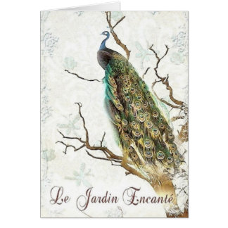 Den förtrollade Garden~Peacocken i grenarna Hälsningskort