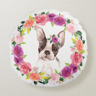 Den franska bulldoggen med den blom- kranen kudder rund kudde