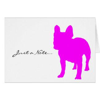 Den franska bulldoggen noterar kortet OBS kort