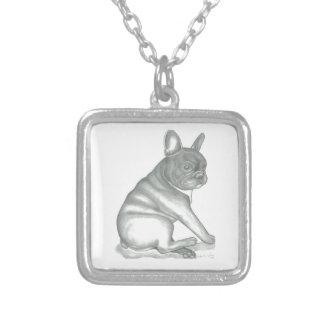 Den franska bulldoggen skissar halsbandet silverpläterat halsband
