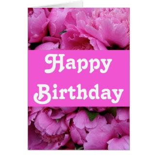 Den frodiga rosa pionen blommar födelsedag hälsningskort