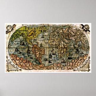 Den gammala återställda världen kartlägger #4 poster