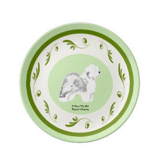 Den gammala engelska sheepdogen på grönt virvlar porslinstallrik