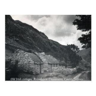 Den gammala irländare thatched stugor, Galway Vykort