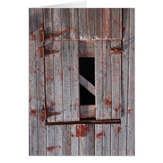 Den gammala ladugårddörren hälsningskort