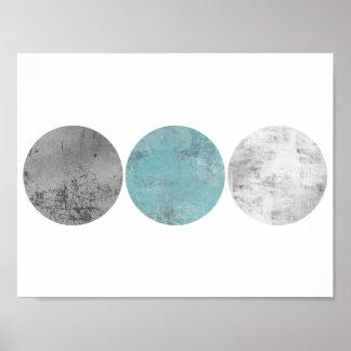 Den geometriska krickan och grått cirklar poster