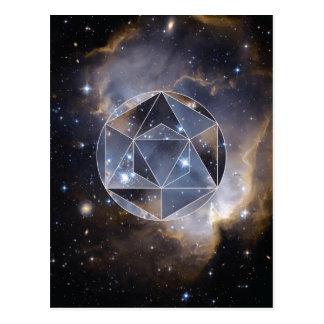 Den geometriska stjärnan samla i en klunga vykort