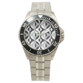 Den geometriska svarten, vit och grå färg cirklar