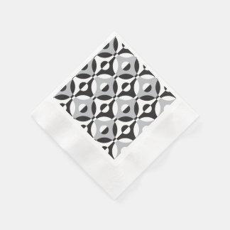 Den geometriska svarten, vit och grå färg cirklar pappersservett