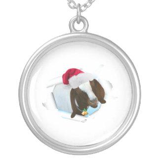Den glada landjulgeten med den Santa hatten & Silverpläterat Halsband