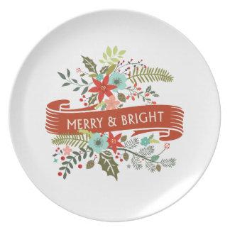 Den glada och ljusa blom- julfesten pläterar tallrik