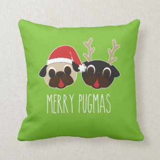 Den glada Pugmas julen kudder renen & Santa mops Kudde