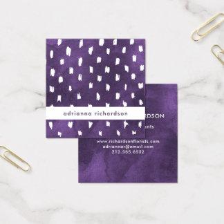 Den Glam purpurfärgade vattenfärgen med trendig Fyrkantigt Visitkort