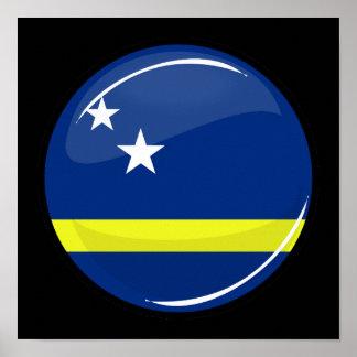Den glansiga rundaflagga Curacao sjunker Poster