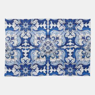 Den glasade portugisen belägger med tegel Azulejo Kökshandduk