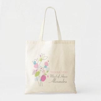 Den grafiska moderna blommabröllopmaid of honor budget tygkasse