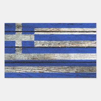 Den grekiska flagga med grovt Wood korn Rektangulärt Klistermärke