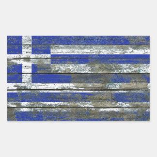 Den grekiska flagga på grovt trä stiger ombord retangel klistermärke