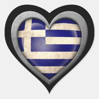 Den grekiska hjärtaflagga med metall verkställer hjärtklistermärken