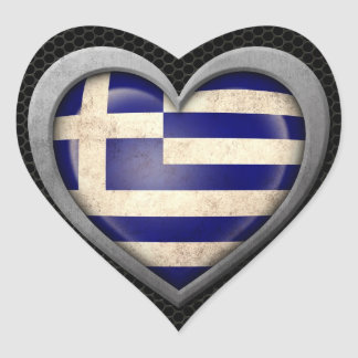 Den grekiska hjärtaflagga stålsätter kopplar ihop hjärtformade klistermärken