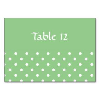 Den gröna Apple polkaen pricker mallbordkortet Bordsnummer