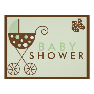 Den gröna barnvagnbaby shower undertecknar
