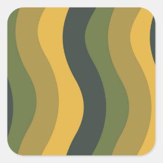 Den gröna blandningen vågigt randar fyrkantigt klistermärke