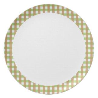 Den gröna & bruna crosshatchen med vit centrerar p tallrik