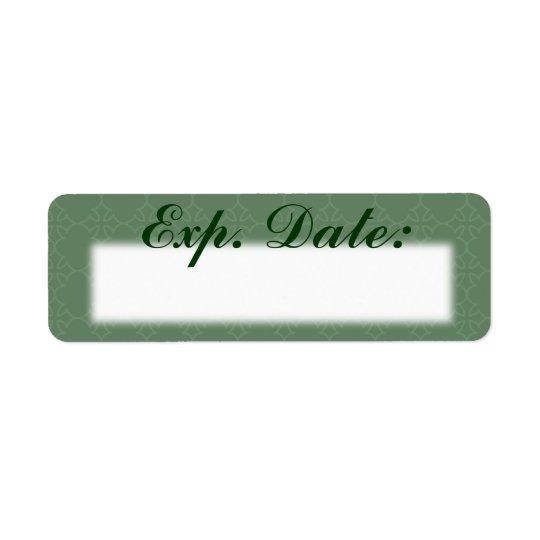 Den gröna eleganta förfallodagen daterar etiketter returadress etikett
