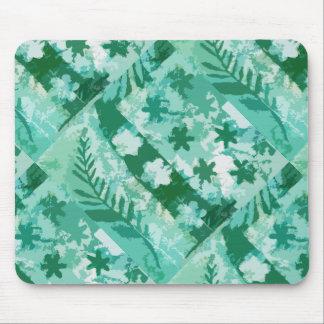 Den gröna gelen pläterar tryckblommalöv mus mattor