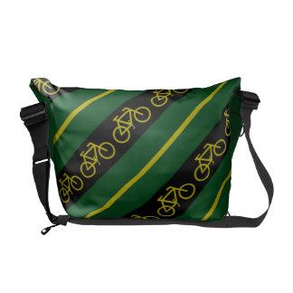 Den gröna gula guld- cykelcykeln görar randig budb messenger bag