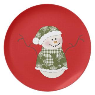 Den gröna julen för snögubbe #2 pläterar tallrik