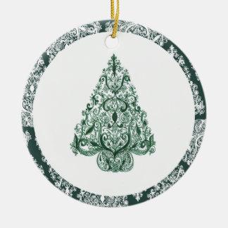 Den gröna julgranen cirklar prydnaden rund julgransprydnad i keramik