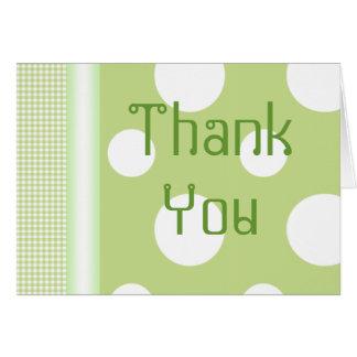 Den gröna polkaen pricker tackkortet OBS kort