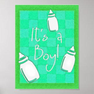 Den gröna schackbrädet är det en pojke! posters
