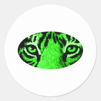 Den gröna tigern synar de MUSEUMZazzle gåvorna Runda Klistermärken