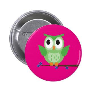 Den gröna ugglan knäppas emblem standard knapp rund 5.7 cm