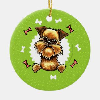 Den grova Bryssel Griffon hunden benar ur Julgransprydnad Keramik