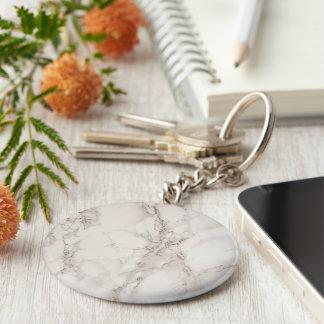 Den grundläggande marmorstenen knäppas Keychain Rund Nyckelring
