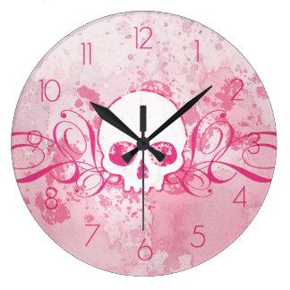 Den Grungy rosa skallen med virvlar runt Stor Klocka