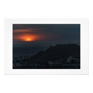Den Guayaquil antennen landskap solnedgångplats Fototryck