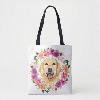 Den gul lab hunden med blom- krantoto hänger lös tygkasse