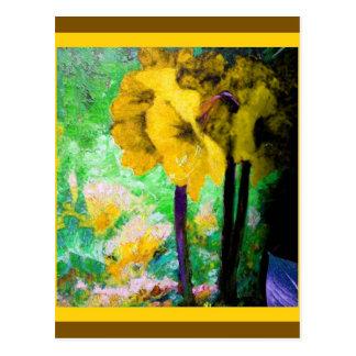 Den gula amaryllisen blommar målning vid Sharles Vykort