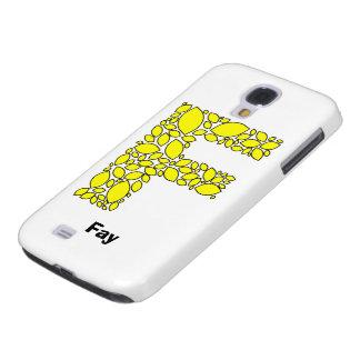 Den gula citronen formar, monogram F Galaxy S4 Fodral