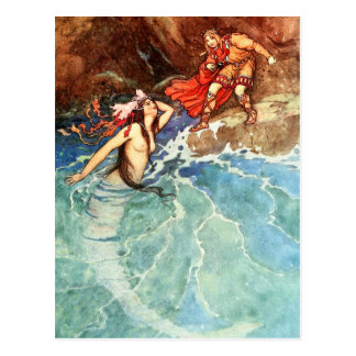 Den gula dvärgen:  Kungen möter sjöjungfrun Vykort