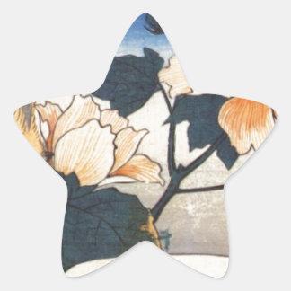 Den gula fågeln och bomull steg vid Hiroshige Stjärnformat Klistermärke