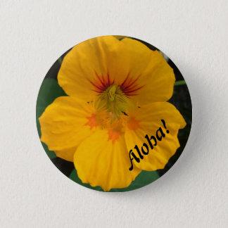 Den gula hawaianska blomman knäppas - Aloha! Standard Knapp Rund 5.7 Cm