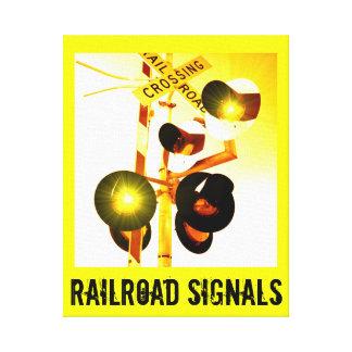 Den gula järnvägkorsningen signalerar sträckta kanvas tryck