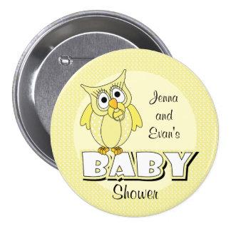 Den gula polkaen pricker baby showertema för uggla mellanstor knapp rund 7.6 cm