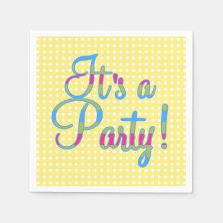 Den gula polkaen pricker det är ett party, papper servett